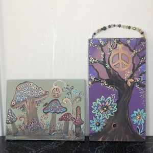 Artisan boho painted wood pictures